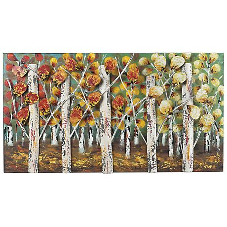 "Autumn Birch Trees 37"" Wide Contemporary Metal Wall Art"