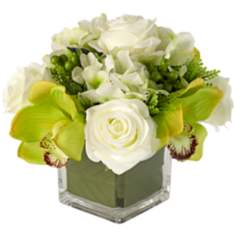 White Silk Roses in Glass Vase