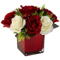 Red and White Silk Roses in Glass Vase