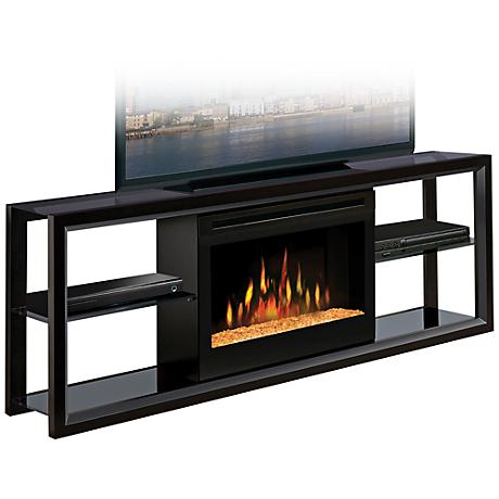 Novara Black Glass Ember Fireplace Media Console