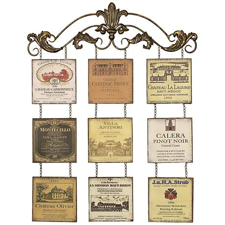 "Vineyard Plaques 38 1/2"" High Antiqued Metal Wall Decor"