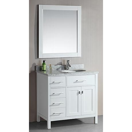 "London 36"" Wide White Sink Vanity with Drawers on Left"