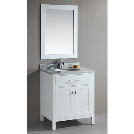 London 30 Wide White Single Sink Vanity Set 3m509
