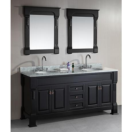 "Marcos 72"" Wide Marble Espresso Double Sink Vanity Set"