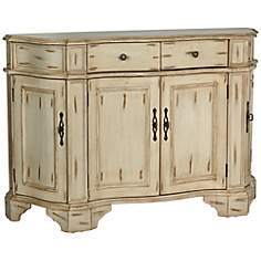 Brina Antique White Bombay Wood Chest