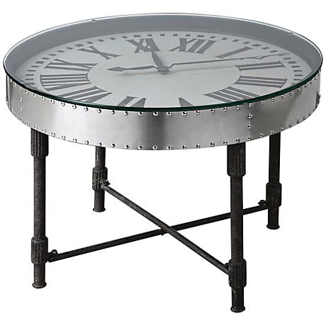 Uttermost Cassem Rusted Patina Clock Accent Table