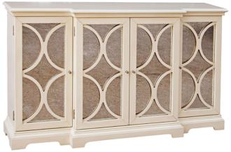 Janice Distressed White Breakfront Credenza (3M665)