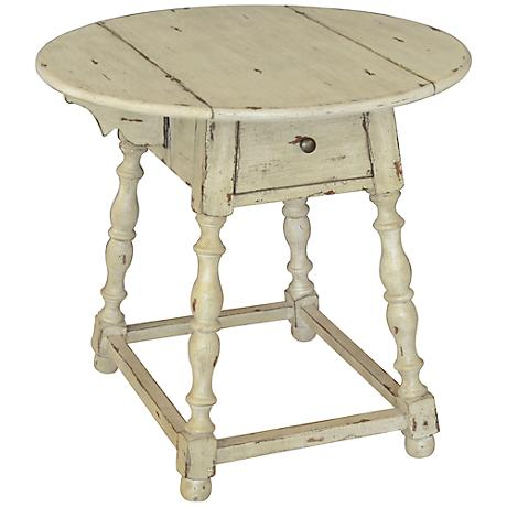 Asgaldor Creamy White Rustic Accent Table