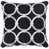 "Circle on Black 18"" Square Cotton Throw Pillow"