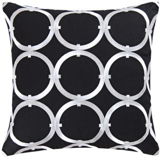 "Circle on Black 18"" Square Cotton Throw Pillow (3M819) 3M819"