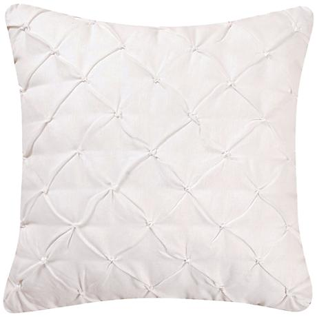 "White Diamond Tuck 18"" Square Down Throw Pillow"