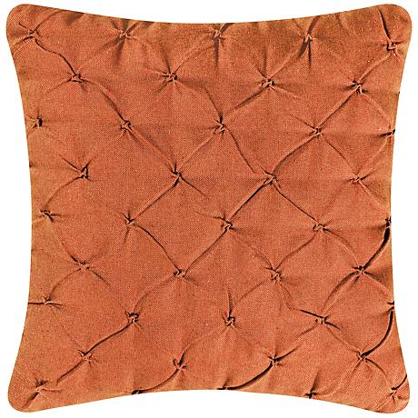 "Orange Diamond Tuck 18"" Square Down Throw Pillow"