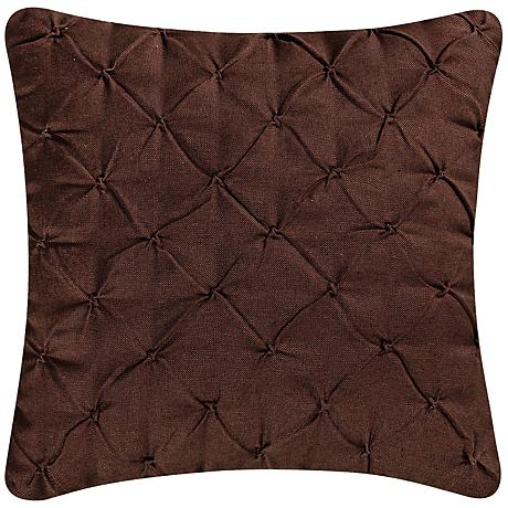 "Brown Diamond Tuck 18"" Square Down Throw Pillow"