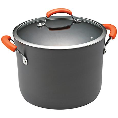 Rachael Ray Orange 10-Quart Hard-Anodized Covered Stockpot