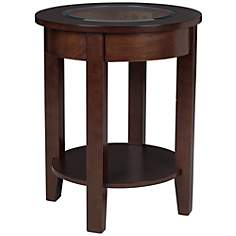 Bronson Glass Top Espresso Accent Table