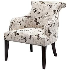 Alexis Mariposa Newsprint Fabric Armchair