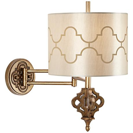 "Kathy Ireland Golden Palace 19"" High Swing Arm Wall Lamp"