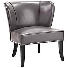Hilton Wingback Gray Faux Leather Accent Chair