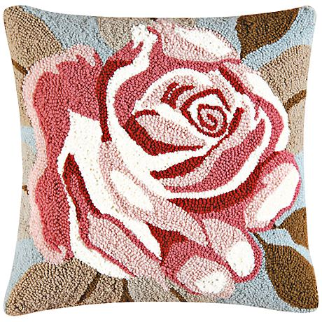 "Rose 18"" Square Floral Throw Pillow"