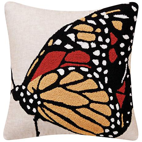 "Monarch Yellow 18"" Square Throw Pillow"