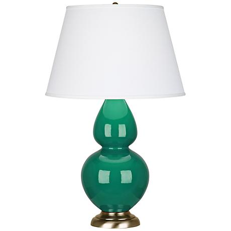 Robert Abbey Emerald Ceramic and Brass Table Lamp