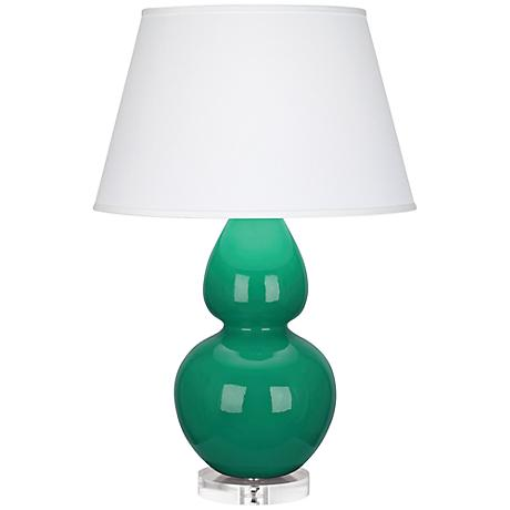 Robert Abbey Double Gourd Emerald Ceramic Table Lamp