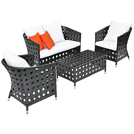 4-Piece Orange Outdoor Patio Furniture Set