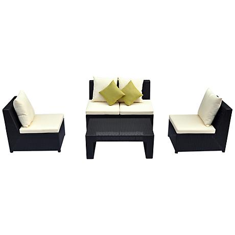 4-Piece Green Armless Outdoor Lounge Set
