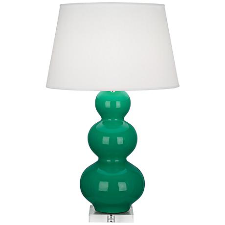 Robert Abbey Triple Gourd Ceramic Emerald Buffet Lamp