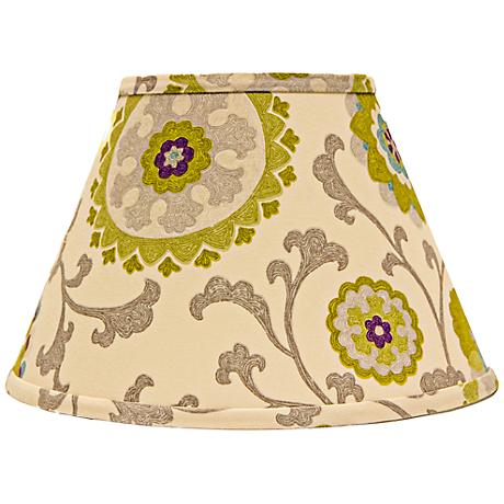 Pea And Teal Floral Empire Lamp Shade 6x12x8 (Spider)