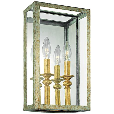 "Morgan Collection 14"" High Gold Silver Leaf Sconce"