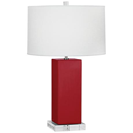Robert Abbey Harvey Ruby Red Glazed Ceramic Table Lamp