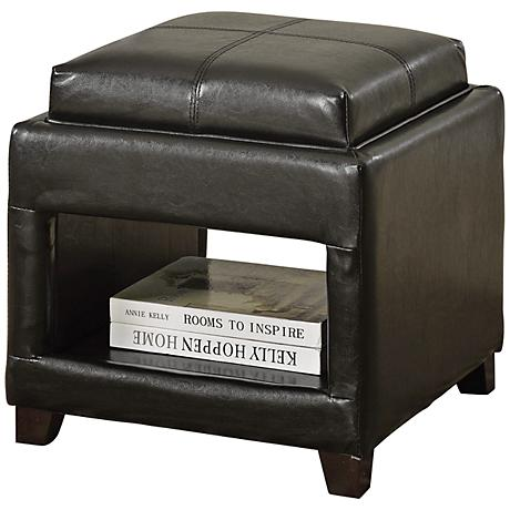 Gosse Dark Brown Faux Leather Ottoman with Tray