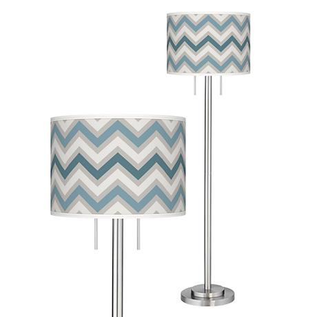 Wave Zig Zag Giclee Brushed Nickel Garth Floor Lamp