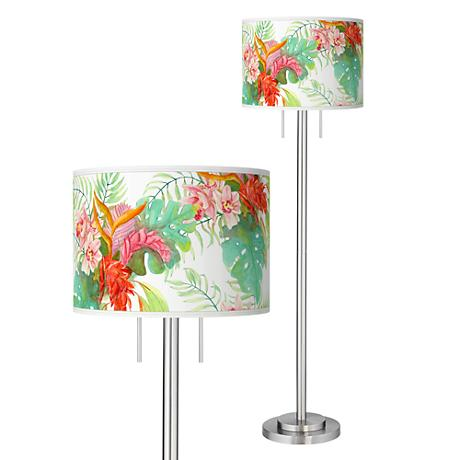 Island Floral Giclee Brushed Nickel Garth Floor Lamp