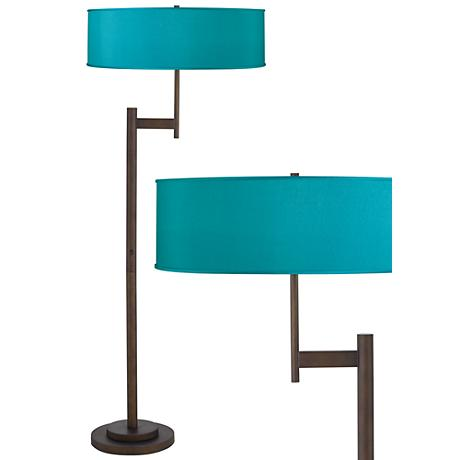 Teal Blue Faux Silk Parker Light Blaster Bronze Floor Lamp