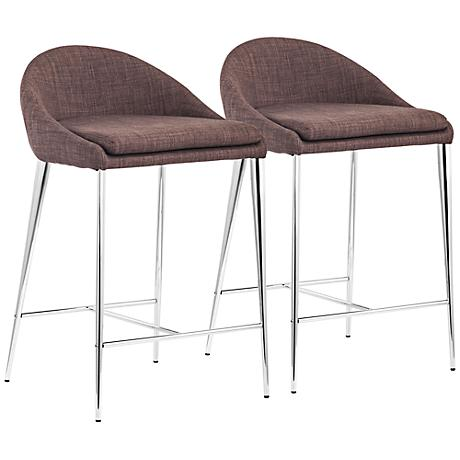 Set of 2 Zuo Reykjavik Tobacco Counter Chairs