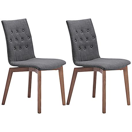Set of 2 Zuo Orebro Graphite Accent Chairs