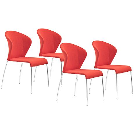 Set of 2 Zuo Oulu Tangerine Side Chairs
