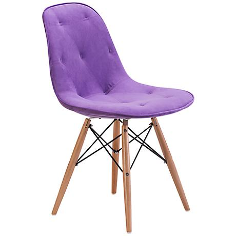 Zuo Probability Purple Velour Wood Chair