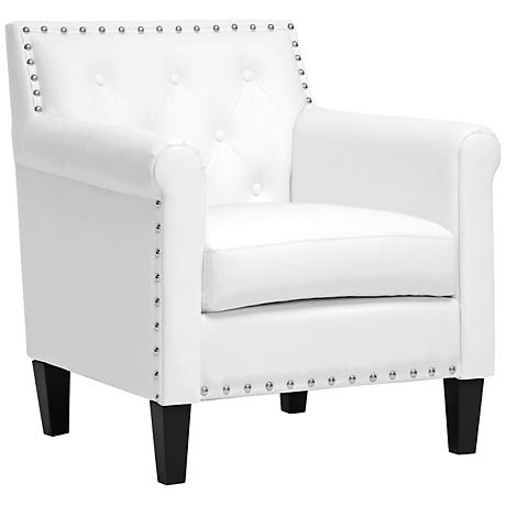 Thalassa White Faux Leather Armchair