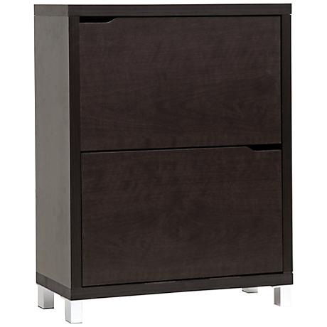 "Simms Dark Brown Two-Tier 37"" High Contemporary Shoe Cabinet"