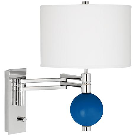 Hyper Blue Niko Swing Arm Wall Lamp