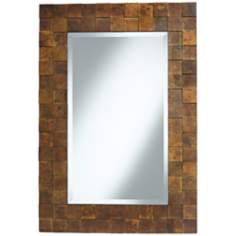 "Abrosia Copper Squares 28"" x 41"" Wall Mirror"