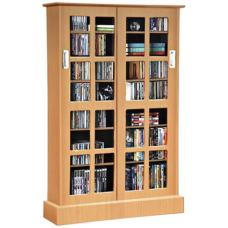 Windowpane Maple Multimedia Games Cabinet