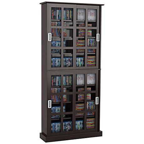 Windowpane Espresso Media Storage Cabinet