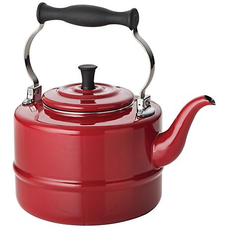 BonJour Red Porcelain 2-Quart Tea Kettle