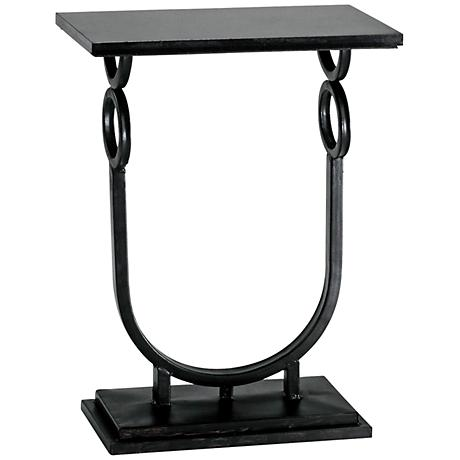 Rope Granite and Ebony Metal Side Table