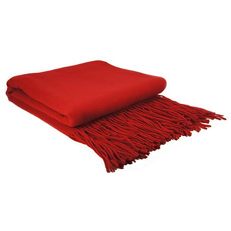 Red Lipstick Signature Cashmere Blend Waterwave Blanket