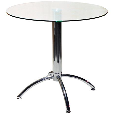 Betty Chrome Glass Top Round Dining Table